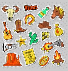 western elements doodle wild west stickers vector image