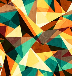 Colored triangle seamless texture with wood effect vector