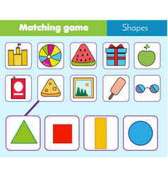 Educational children game matching game worksheet vector