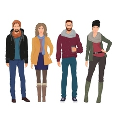 Handsome young guys men with beautiful girls vector image