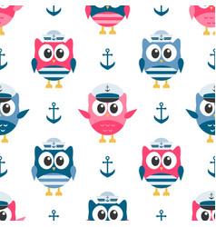 pattern with owls sailors and anchors vector image vector image