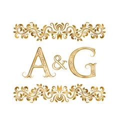 Ag vintage initials logo symbol letters a g vector