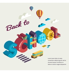 Back to school - text with icons concept vector image vector image