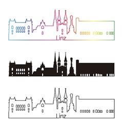 Linz skyline linear style with rainbow vector image