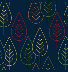 seamless pattern colorful leaves silhouettes on a vector image vector image