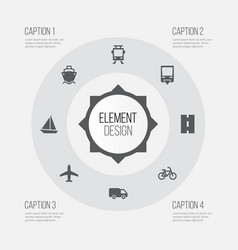 shipment icons set collection of way aircraft vector image vector image