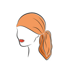 beautiful young woman in an orange head bandana vector image vector image