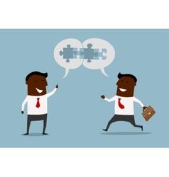 Cartoon businessmen satisfied with cooperation vector image vector image