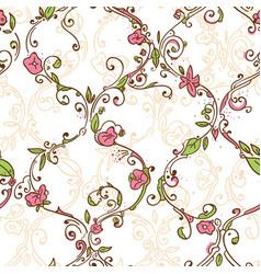 Hand drawn trellis floral seamless pattern vector