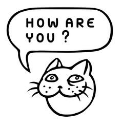 how are you cartoon cat head speech bubble vector image vector image
