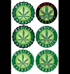 Medical Cannabis Leaf Design Stamps vector image