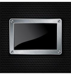 Metallic frame with screws on abstract metallic ba vector image vector image