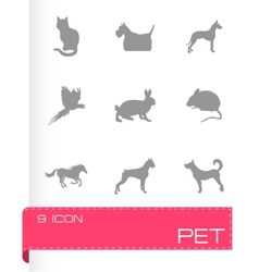 pet icons set vector image