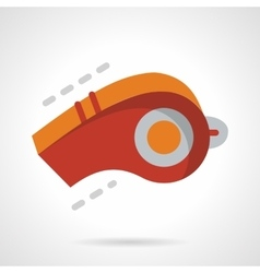 Red whistle flat color design icon vector image
