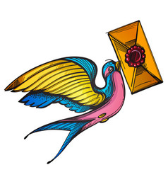 swallow with a letter old school tattoo style vector image