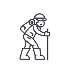 travelerhiking man line icon sign vector image