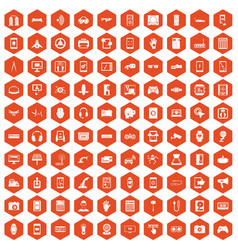 100 adjustment icons hexagon orange vector