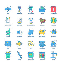 25 business concept mix flat color icon set vector