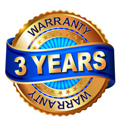3 years warranty golden label with ribbon vector image