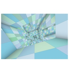 3d futuristic labyrinth green blue shaded interior vector image