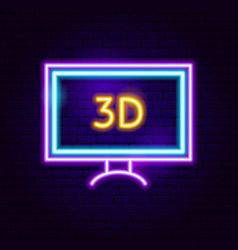 3d tv neon sign vector image
