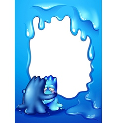 A blue border design with two monsters comforting vector image