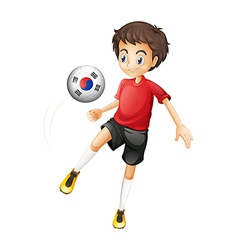 a smiling boy playing ball with flag of vector image