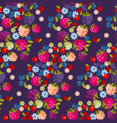 Assorted forest berries seamless pattern vector