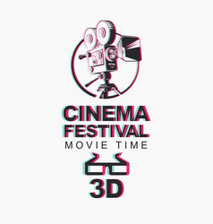 banner for 3d cinema festival with 3d glasses vector image