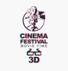 Banner for 3d cinema festival with 3d glasses vector