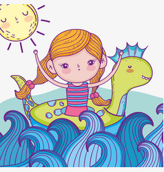 beauty girlwith dinosaur float in the sea waves vector image