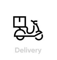 Bike delivery icon editable line vector