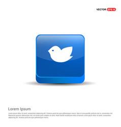 bird icon - 3d blue button vector image