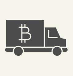 Bitcoin car solid icon crypto van vector