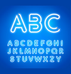 blue neon letters set bright glowing font latin vector image