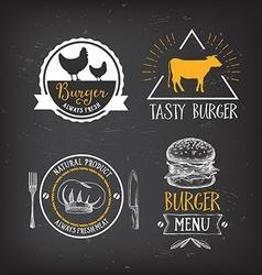 Burger menu restaurant badges Fast food design vector image