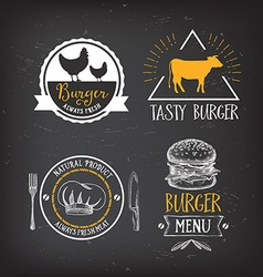 Burger menu restaurant badges Fast food design vector
