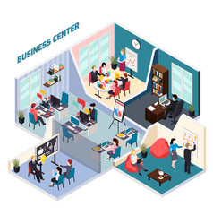 Business center isometric composition vector