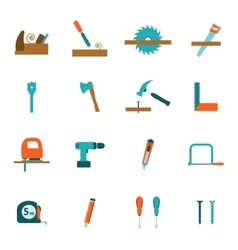 Carpentry tools flat icons set vector image