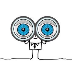 Cartoon character - big eyes and binoculars vector