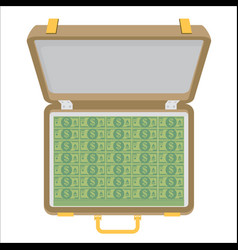 Case full of money isolated on background vector