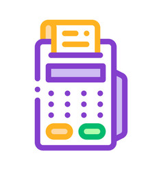 Cash machine calculator and check icon vector