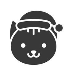 cat wearing santa hat silhouette icon design vector image
