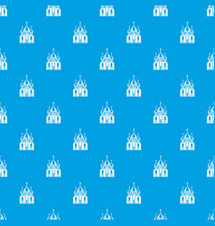 church building pattern seamless blue vector image
