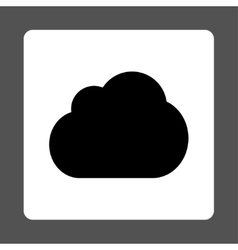 Cloud flat black and white colors rounded button vector image