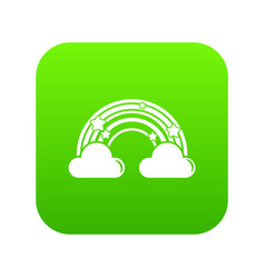 cloud rainbow icon green vector image