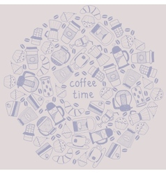 Coffee round background vector image