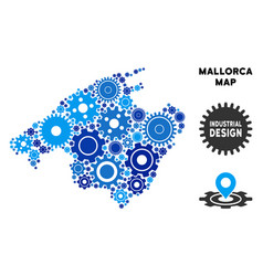 Collage spain mallorca island map of gears vector
