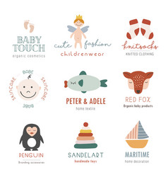 collection bohemian kids logo vector image