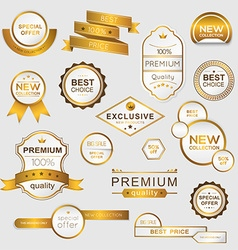 Collection of golden premium promo sealsstickers vector image
